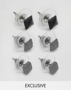 3 пары сережек-гвоздиков DesignB London - Серебряный