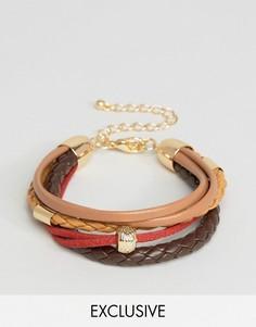 Браслет из искусственной кожи с плетением и красным шнуром DesignB London - Мульти
