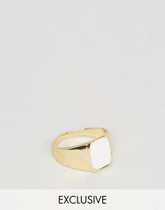 Золотистое кольцо с белыми искусственными камнями DesignB London - Золотой