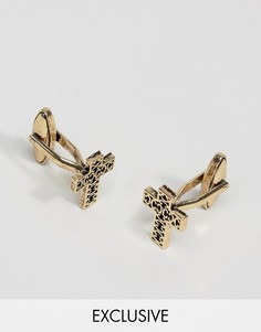 Запонки с крестами цвета античного золота DesignB London - Золотой