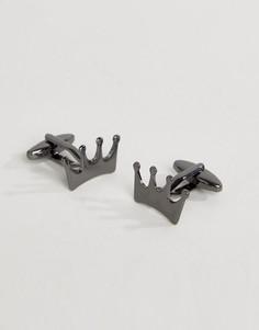 Запонки в виде короны цвета пушечной бронзы DesignB London - Черный