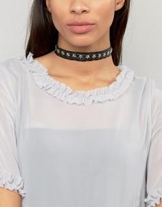 Ожерелье-чокер с заклепками-звездами Ashiana - Черный