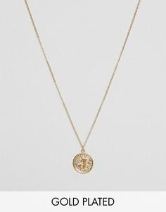 Ожерелье с инициалом J на подвеске Ottoman Hands - Золотой