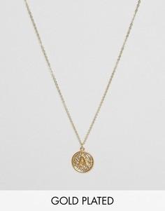 Ожерелье с инициалом А на подвеске Ottoman Hands - Золотой