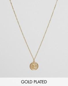 Ожерелье с инициалом Е на подвеске Ottoman Hands - Золотой
