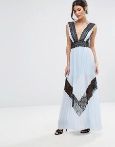 Платье макси с кружевной отделкой и плиссированой юбкой True Decadence - Синий