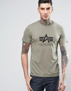 Зеленая футболка стандартного кроя с логотипом Alpha Industries - Зеленый