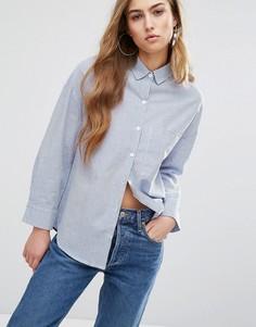 Свободная рубашка бойфренда в тонкую полоску Daisy Street - Синий