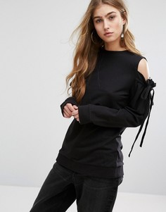 Топ с открытыми плечами и завязками на рукавах Daisy Street - Черный