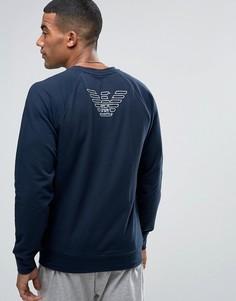 Свитшот с логотипом на спине Emporio Armani - Темно-синий