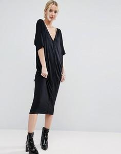 Oversize-платье с планкой на пуговицах ASOS - Черный