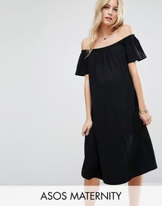 Платье миди с открытыми плечами ASOS Maternity - Черный