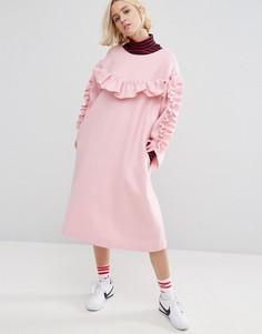 Свободное платье с рюшами STYLENANDA - Розовый