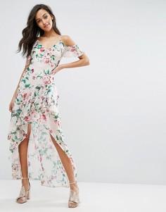 Платье макси с принтом и оборкой Miss Selfridge - Мульти