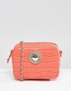 Сумка через плечо с крокодиловым узором и ремешком-цепочкой Versace Jeans - Розовый