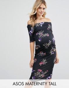 Платье с укороченными рукавами и цветочным принтом ASOS Maternity TALL - Мульти