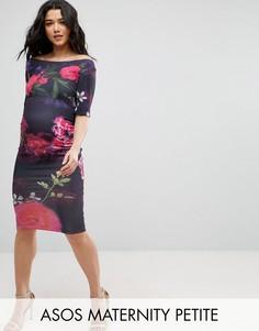Платье с вырезом лодочкой и крупным цветочным принтом ASOS Maternity PETITE - Мульти