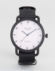 Часы с черным парусиновым ремешком Reclaimed Vintage - Черный