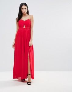 Платье-бандо макси с вырезом Little Mistress - Красный