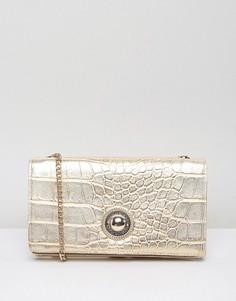 Сумка-кошелек через плечо из искусственной крокодиловой кожи Versace Jeans - Золотой