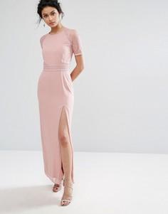 Платье макси с кружевной отделкой на рукавах и спине Elise Ryan - Розовый