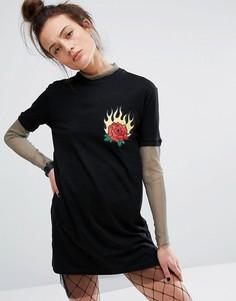 Платье-футболка с сетчатой отделкой The Ragged Priest - Черный