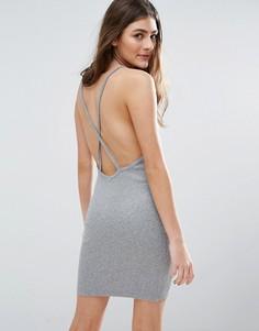 Платье мини в рубчик с перекрестной спинкой ASOS - Серый