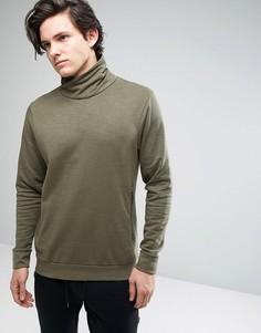 Свитшот с драпированным воротником Threadbare - Зеленый