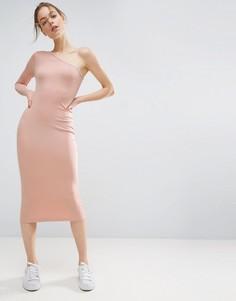 Облегающее платье миди в рубчик на одно плечо ASOS - Розовый
