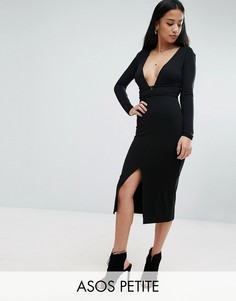 Платье миди с запахом и глубоким вырезом ASOS PETITE - Черный