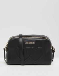 Сумка на плечо с двумя сердцами Love Moschino - Черный