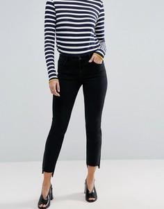 Черные прямые джинсы с асимметричными краями ASOS CASTILE - Черный