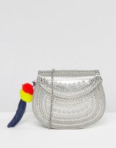 Металлическая сумка через плечо с подвеской-помпоном Glamorous - Серебряный