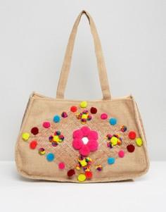 Пляжная сумка из джута с помпонами Glamorous Jute - Мульти