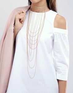 Изящное ожерелье-чокер с цепочками ALDO - Золотой