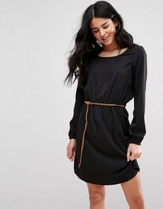 Цельнокройное платье с поясом Blend She Carly - Черный