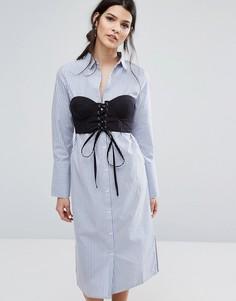 Платье-рубашка в полоску с контрастным топом Neon Rose - Синий