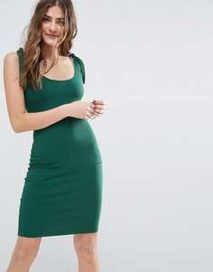 Короткое облегающее платье в рубчик с завязывающимися бретельками ASOS - Зеленый