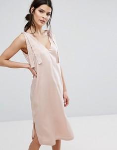 Атласное платье-комбинация Neon Rose - Розовый