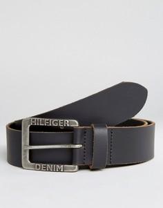 Черный кожаный ремень Tommy Hilfiger Denim Original - Черный