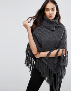 Вязаное пончо с узором косичка и кисточками Lipsy - Серый