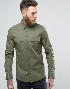 Строгая рубашка скинни в стиле милитари Only & Sons - Зеленый