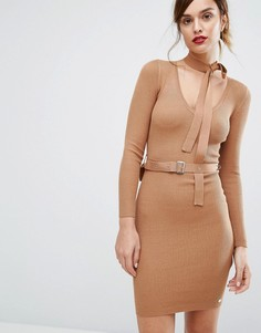 Платье-джемпер с ремнем и завязкой на горловине Lipsy - Рыжий