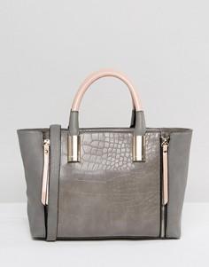 Серо-розовая сумка с молниями Lipsy - Серый