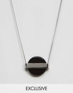 Серебряное ожерелье с круглой подвеской-камнем DesignB London - Серебряный