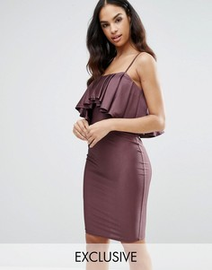 Платье-бандо миди с накладкой NaaNaa - Фиолетовый