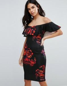 Платье-футляр с принтом и оборками Jessica Wright - Черный