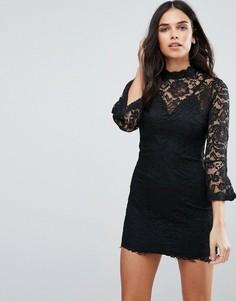 Цельнокройное платье с высокой горловиной Jessica Wright - Черный
