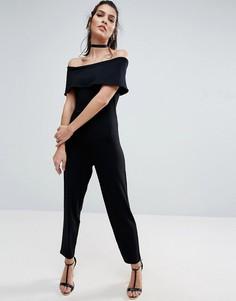 Трикотажный комбинезон с открытыми плечами и широкими штанинами ASOS - Черный