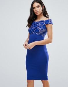 Платье миди с широким вырезом и кружевом Jessica Wright - Синий
